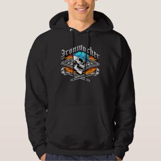 Den korsade skallen och att flamma för Ironworker Sweatshirt Med Luva