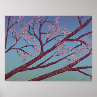 Den körsbärsröda blommar förgrena sig - naturkonst