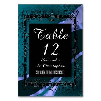 Den krickaaquablått, svarten och personligen numre bordsnummer
