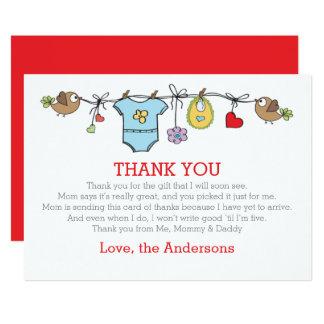 Den kulöra babyboy kläder tackar dig BABY SHOWER 12,7 X 17,8 Cm Inbjudningskort