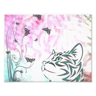 Den kulöra katten, fjärilar och blommigten virvlar fotografiskt tryck