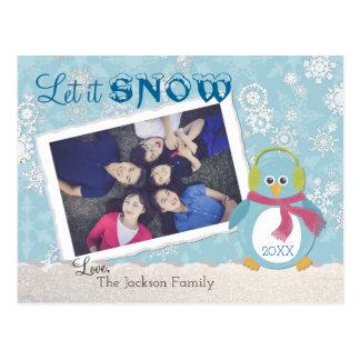 """Den kyliga pingvinet """"låt det snöa"""" fotoet vykort"""