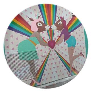 Den kyssande unicornen pläterar tallrik