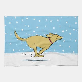 Den Labrador retrieveren älskar snön - helgdaghund Kökshandduk