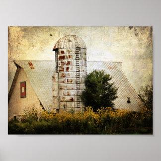 Den ladugårdtäcket, siloen och solrosorna poster