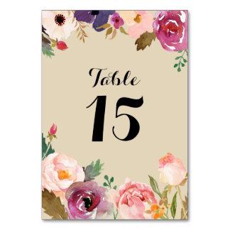 Den lantliga Boho vattenfärgen blommar bröllop Bordsnummer