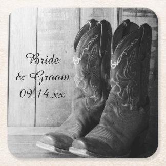 Den lantliga cowboyen startar westernt bröllop för underlägg papper kvadrat