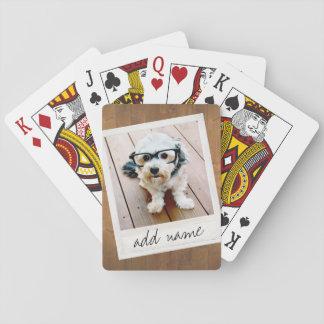 Den lantliga fotoramen med kvadrerar Instagram och Spel Kort