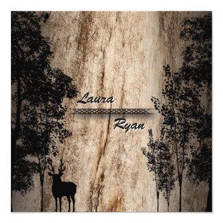 Den lantliga ladugården stiger ombord hjort- & fyrkantigt 13,3 cm inbjudningskort
