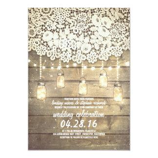 Den lantliga landmasonen skorrar Wood bröllop för 12,7 X 17,8 Cm Inbjudningskort