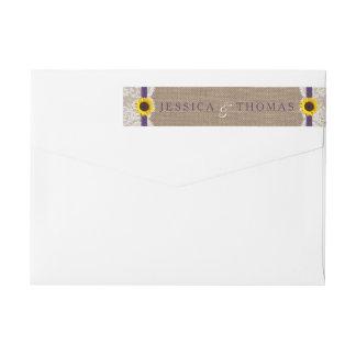 Den lantliga solrosbröllopsamlingen - lila etikettband