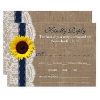 Den lantliga solrosbröllopsamlingen - marin 8,9 x 12,7 cm inbjudningskort