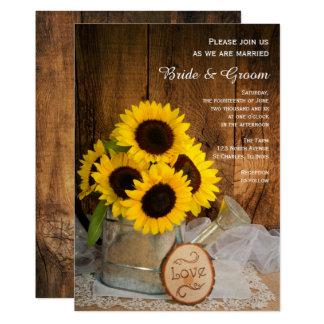 Den lantliga solrosen och trädgården som bevattnar 12,7 x 17,8 cm inbjudningskort
