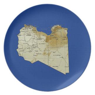 Den Libyen kartan pläterar Dinner Plates