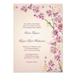 Den lila purpurfärgade vattenfärgen blommar 12,7 x 17,8 cm inbjudningskort