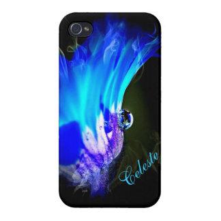 Den ljusa blåttblomman W/Dew tappar fodral för iPhone 4 Skydd