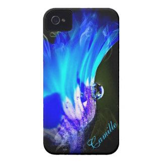 Den ljusa blåttblomman W/Water tappar fodral för iPhone 4 Skydd