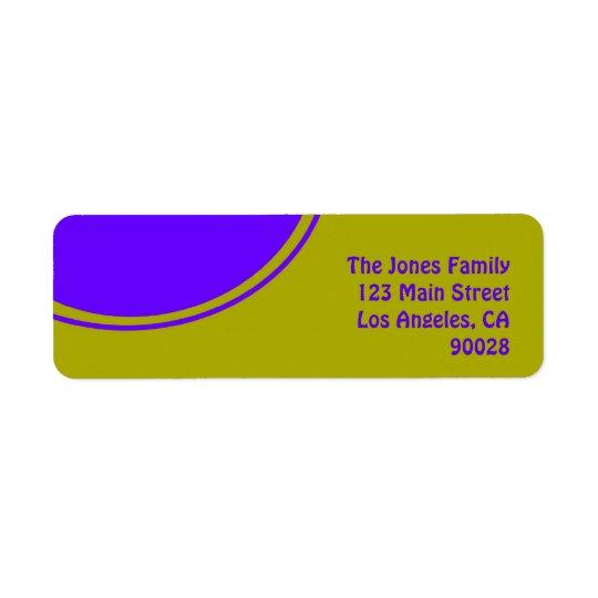Den ljusa gula purpurfärgade modet cirklar returadress etikett