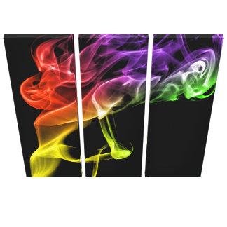 Den ljusa regnbågen som modern abstrakt röker, canvastryck