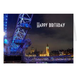 Den London UK natten landskap det London ögat Hälsningskort