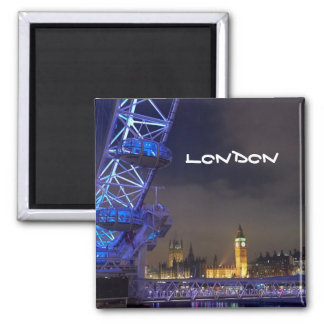 Den London UK natten landskap det London ögat Magnet