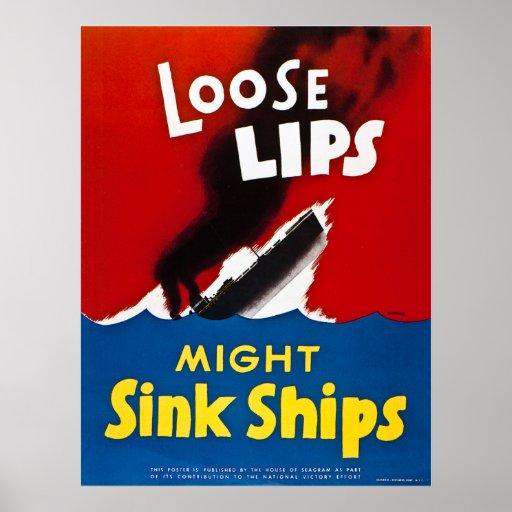 Den lösa läpparstyrkan sjunker frakter - vintage W Affischer