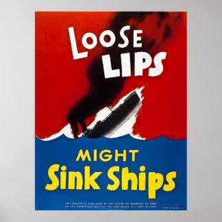 Den lösa läpparstyrkan sjunker frakter - vintage W Poster