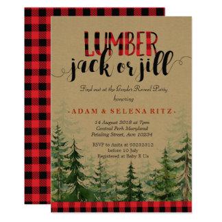Den lumberjack- eller Jill gender avslöjer 12,7 X 17,8 Cm Inbjudningskort