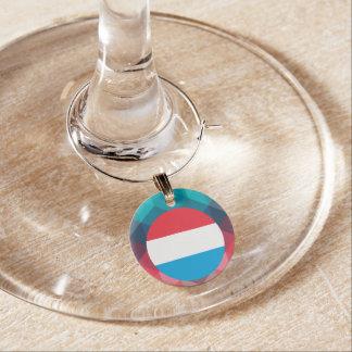Den Luxembourg flagga cirklar på modern bokeh Berlock Vinglas