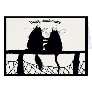 den lyckliga årsdagen, katt kopplar ihop hälsningskort