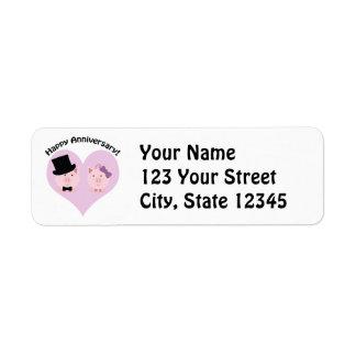 Den lyckliga årsdaggrisen kopplar ihop returadress etikett