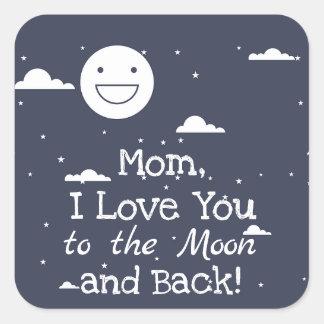 Den lyckliga månen älskar jag dig till månen & fyrkantigt klistermärke