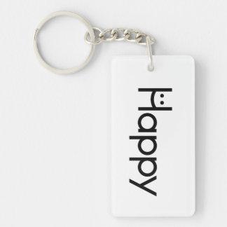 Den lyckliga nyckeln:) rektangulärt dubbelsidigt nyckelring i akryl