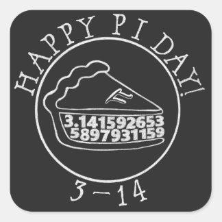 Den lyckliga pajen för den svart tavlan för fyrkantigt klistermärke