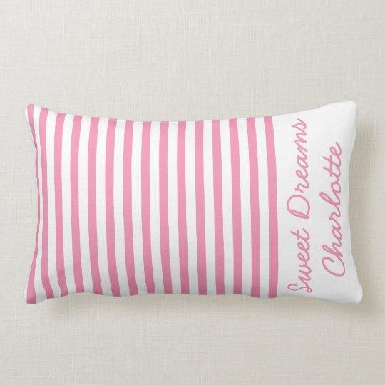 Den lyckliga rosan och vit görar randig personlig lumbarkudde