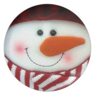 Den lyckliga snögubbehelgdag pläterar tallrik