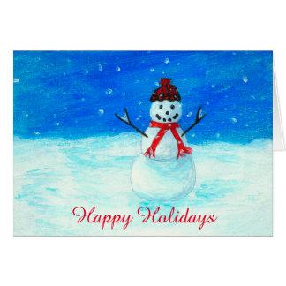 Den lyckliga snögubben landskap Snowing glad helg Hälsningskort