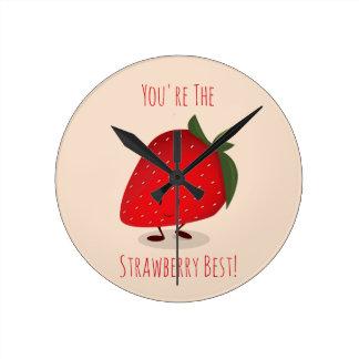 Den lyckliga väggen för jordgubbetecken | tar tid rund klocka
