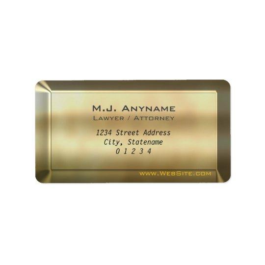 Den lyxiga guld- puben verkställer adressetikett