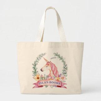 Den Magical unicornen med det blom- beställnings- Jumbo Tygkasse