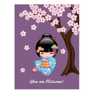 Den Maiko Kokeshi dockan - Geisha är du välkommen Vykort