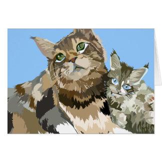 Den Maine Coonmamman & kattungen noterar kortet Hälsningskort