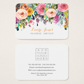 Den målade blom- blomsterhandlaren tillfogar egna visitkort