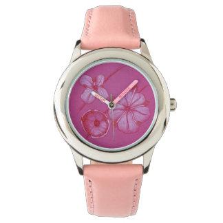 Den målade rosan blommar klockan armbandsur