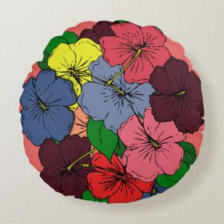 Den mångfärgade hibiskusen blommar #2 rund kudde