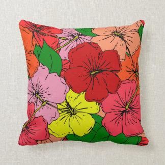 Den mångfärgade hibiskusen blommar #7 prydnadskudde