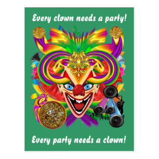 Den Mardi Gras clownen beskådar Notes behar Vykort