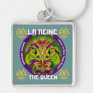 Den Mardi Gras drottningen som stil 2 beskådar, Fyrkantig Silverfärgad Nyckelring