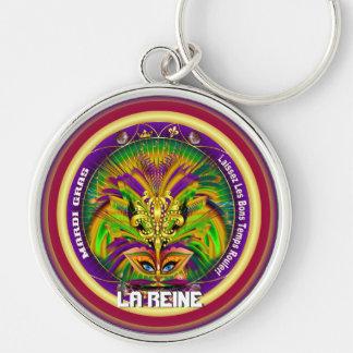 Den Mardi Gras drottningen som stil 2 beskådar, Rund Silverfärgad Nyckelring