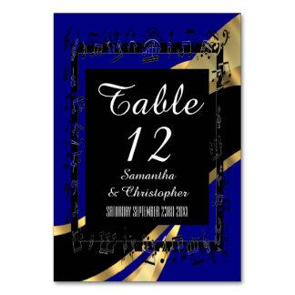 Den marinblå, svart och guldpersonligen numrerar bordsnummer